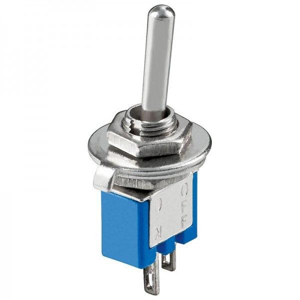 Interrupteur à bascule Subminiature ON-OFF, 2 broches, corps bleu