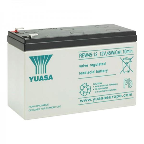 Yuasa REW45-12 batterie rechargeable à haute intensité 12V avec 8Ah, faston 6.3mm contacts de fiche