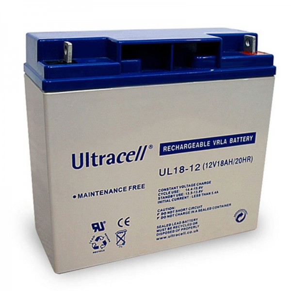 Batterie au plomb UL18-12 Ultracell 12 Volt, 18Ah avec filetage M5