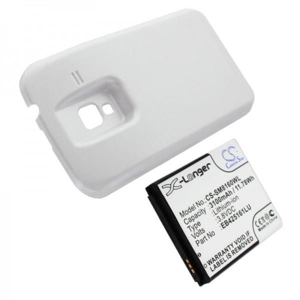 Batterie pour Samsung Galaxy Ace 2, GT-I8160, GT-I8160P 3100mAh avec couvercle blanc