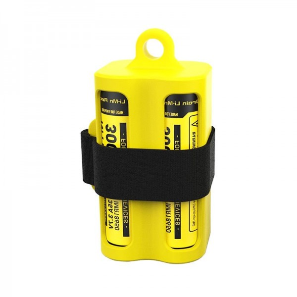 Bac à batterie NBM40 jaune pour 1-4 batteries Li-ion 18650 ou flacons et vaporisateurs E-Liquide
