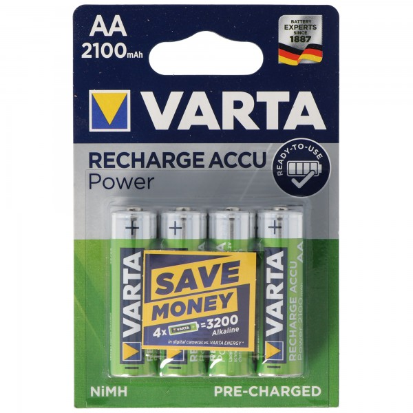 VARTA Ready2use Pile Rechargeable Mignon / AA 56706 Paquet de 4 2100mAh