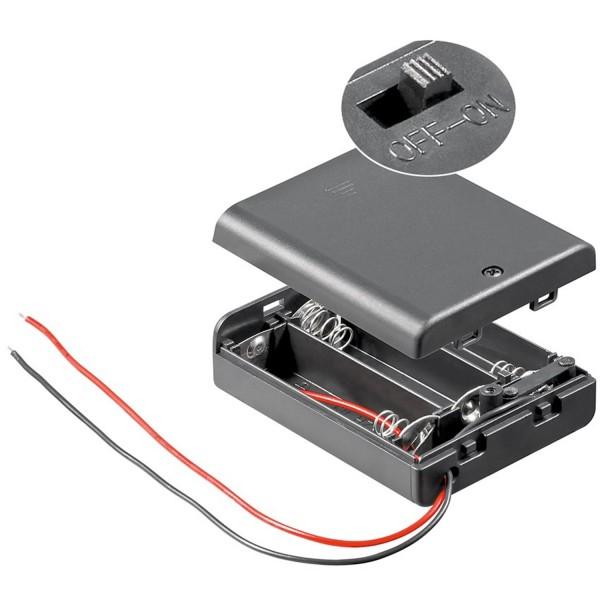 Support de piles pour 3 piles Mignon AA LR6 4,5 volts avec câble et fiche