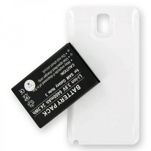 Batterie de remplacement 6400mAh pour Samsung Galaxy Note 3, Galaxy Note III, B800BE, B800BU avec étui blanc