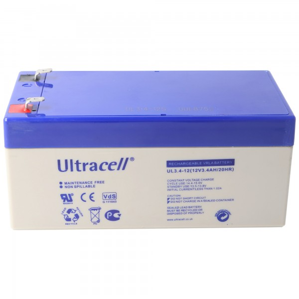 Batterie au plomb UL3.4-12 Ultracell 12 volts, 3,4 Ah