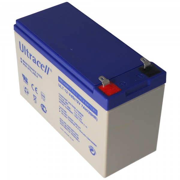 Batterie au plomb Ultracell UL7-12 12 Volts 7,0 Ah avec Faston Contact 187, 4.8mm