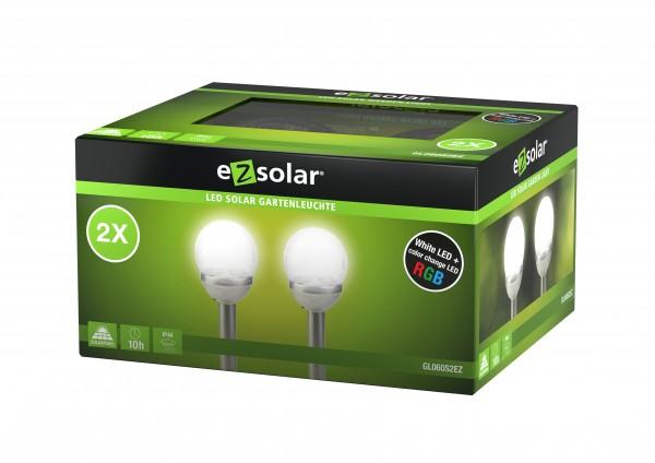 Éclairage solaire à LED Cracked Ball, éclairage de jardin solaire avec fonction de changement de couleur, y compris 2 piles Ni-MH AA 1,2 V, lot de 2
