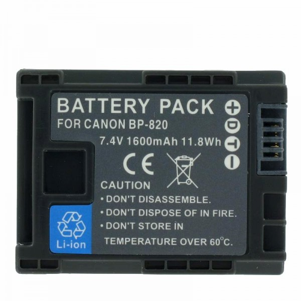 Batterie de remplacement Canon BP-820 pour Canon Vixia HF G30, XA20, XA25 (pas de batterie Canon d'origine)