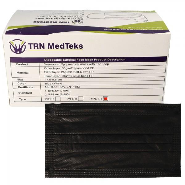 Masque chirurgical médical 50 pièces type IIR 3 plis noir, certifié selon DIN EN 14683: 2019 + AC: 2019 (E), masque chirurgical