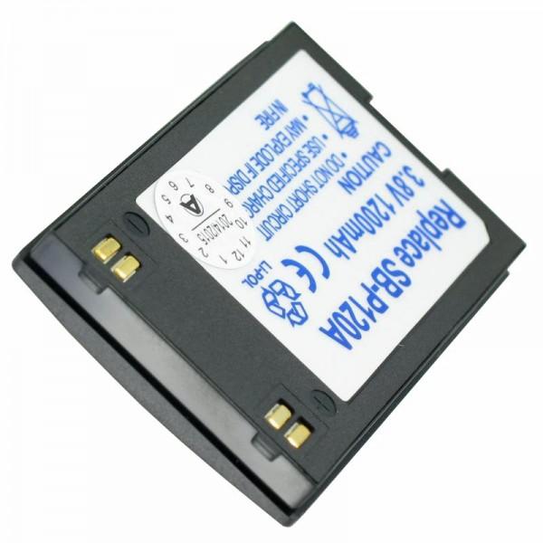 AccuCell batterie adaptée pour Samsung SB-P120A, SB-P120ABK, 1200mAh