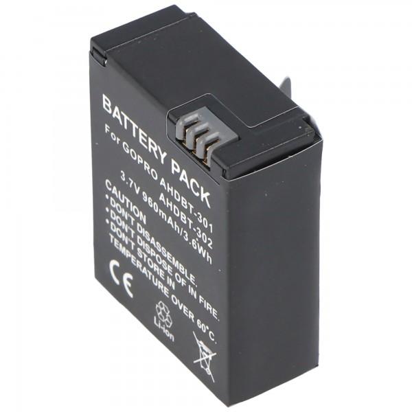Batterie AccuCell pour Go Pro HD Hero 3, AHDBT-201, AHDBT-301