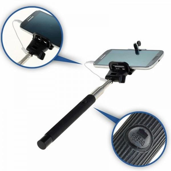 Selfie Maker avec pince, télescopique extensible avec gâchette pour Smartphone et ActionCam