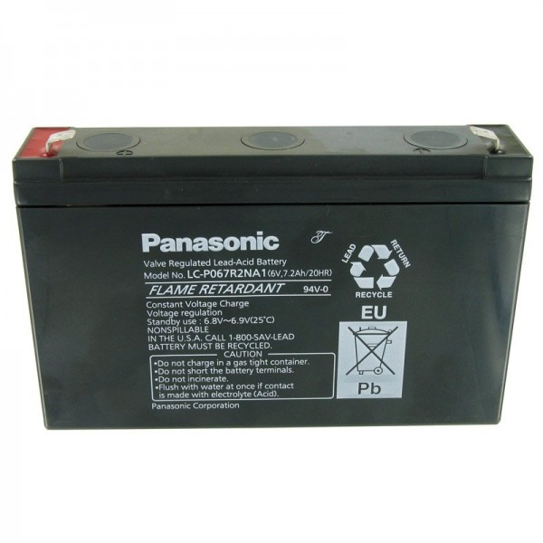 Panasonic LC-P067R2NA1 Batterie plomb-acide de 6 Volts et 7200mAh, 6.3mm Faston