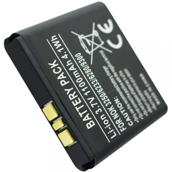 Accucell batterie pour Nokia 3250 batterie de téléphone portable, 6233, 6280, 9300 avec 1100mAh