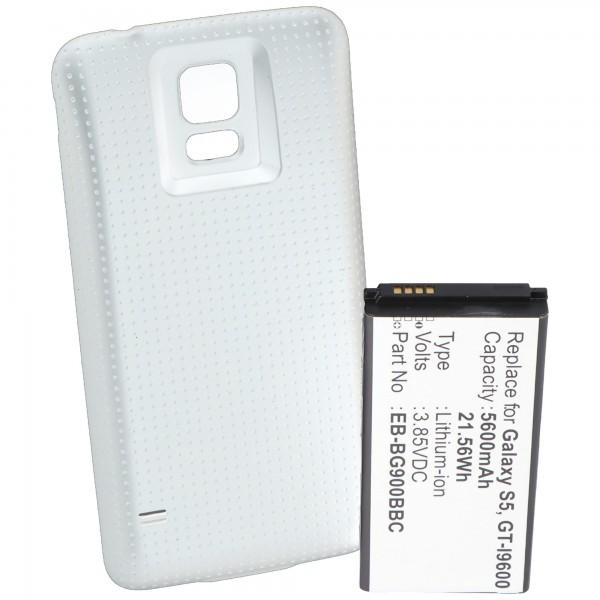 Batterie pour Samsung Galaxy S5, GT-I9600, GT-I9602, 5600mAh avec couvercle blanc