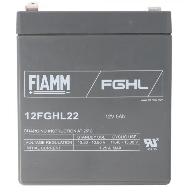 Batterie au plomb Fiamm 12FGHL22 12 volts 5Ah, contact à fiche rapide 6,3 mm