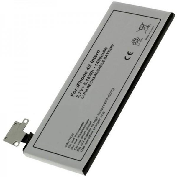 AccuCell batterie convient pour Apple iPhone 4S batterie, 616-0579, GB-S10-423282-0100, 1400mAh