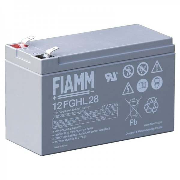 Batterie au plomb Fiamm 12FGHL28 12 Volts 7200mAh avec contacts Faston 6.3mm