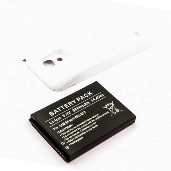 Batterie de remplacement pour Samsung Galaxy S4 Mini Galaxy S4 Mini, GT-I9195 3800mAh avec couvercle blanc