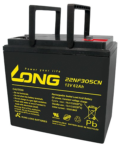 Batterie Kung Long 22NF305CN 12 Volts 62 Ah Dimensions 226 x 135 x 207 mm connexions à vis