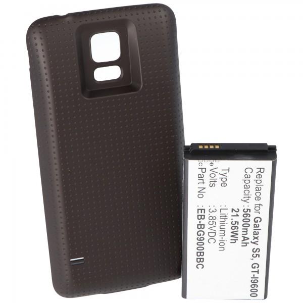 Batterie pour Samsung Galaxy S5 avec 5600mAh avec cache supplémentaire noir