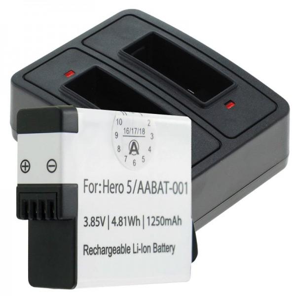 Batterie et double chargeur pour GoPro Hero5, Hero 5 Black, AABAT-001