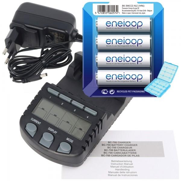 Technoline BC 700 chargeur de batterie noir avec 4x eneloop HR-3UTG et AccuCell BatterieBox