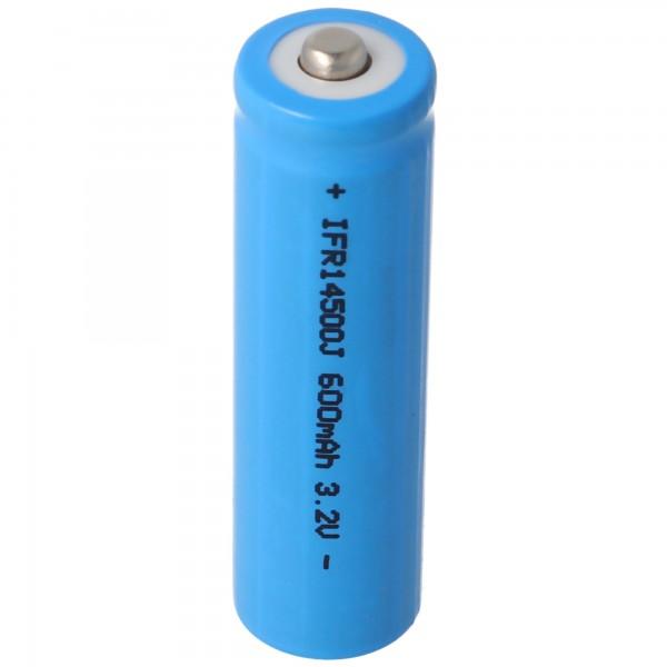 Batterie solaire de 3,2 volts Lithium IFR 14500 AA 600mAh LiFePo4 avec tête non protégée 14.2 x 50.6mm