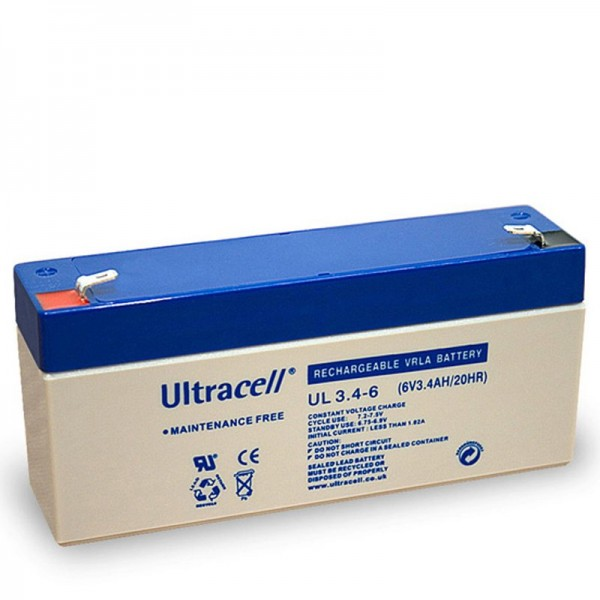 Batterie au plomb Ultracell UL 3.4-6 avec contacts Faston 4.8mm