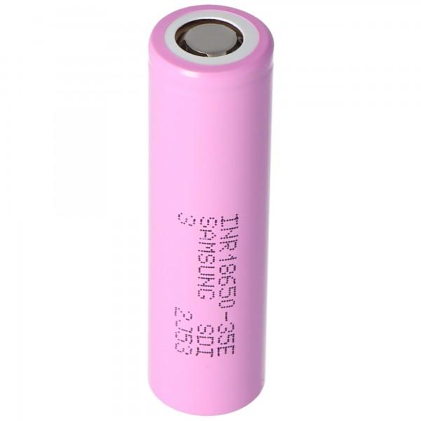 Samsung INR18650-35E Batterie 3.6 Volt 3500mAh plat, plus pôle sélectionnable avec ou sans étiquettes de soudure