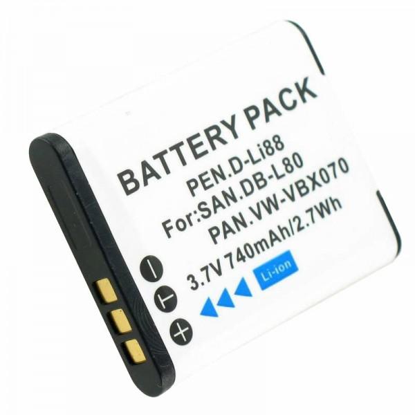 Batterie compatible pour Sanyo DB-L80, DMX-CG10, VPC-CG10, VPC-X1200