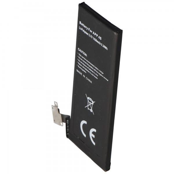 AccuCell batterie adapté pour Apple iPhone 4S batterie, 616-0579, GB-S10-423282-0100 type 1440mAh, 5.3Wh, max. 1450mAh