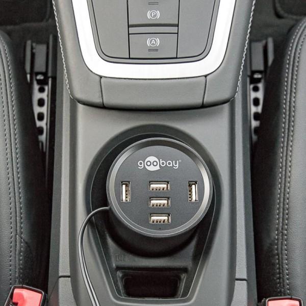 Chargeur de chargeur de support de tasse de voiture de puissance de support de tasse de chargeur d'USB avec 5 ports USB intelligents