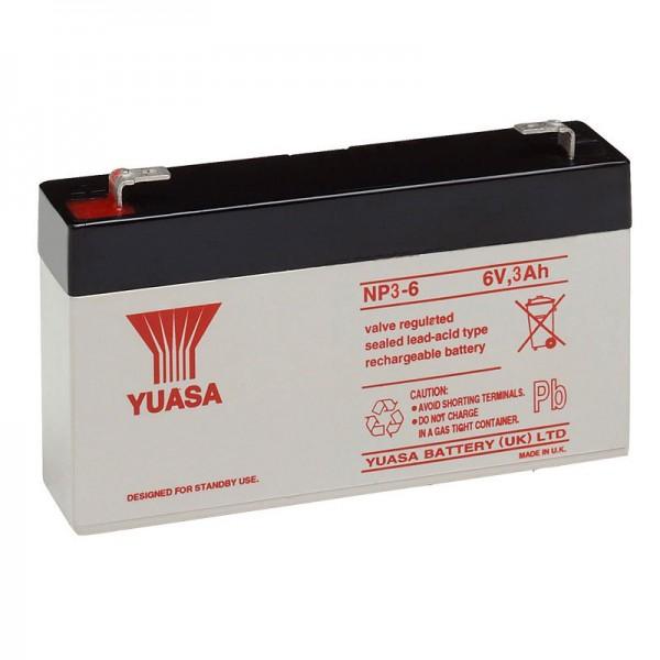 Yuasa NP3-6 Batterie PB 6 Volt 3Ah Faston 4.8mm