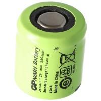 GP GP25AAH batterie rechargeable NiMH 1/3 AA Mignon sans étiquette de soudure