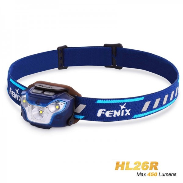 Lampe frontale Fenix HL26R LED bleue avec batterie Li-Polymère 1600mAh