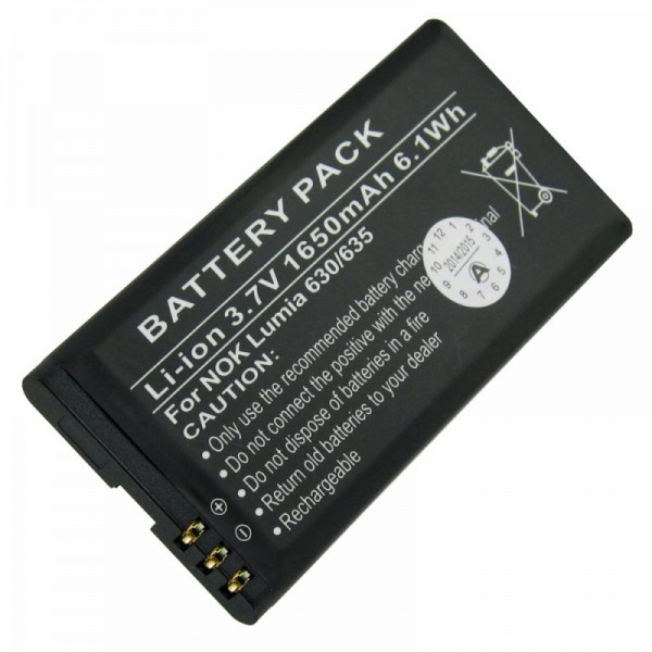 AccuCell batterie adapté pour Nokia BL-5H batterie Lumia 630 batterie, Lumia 635 avec 1650mAh