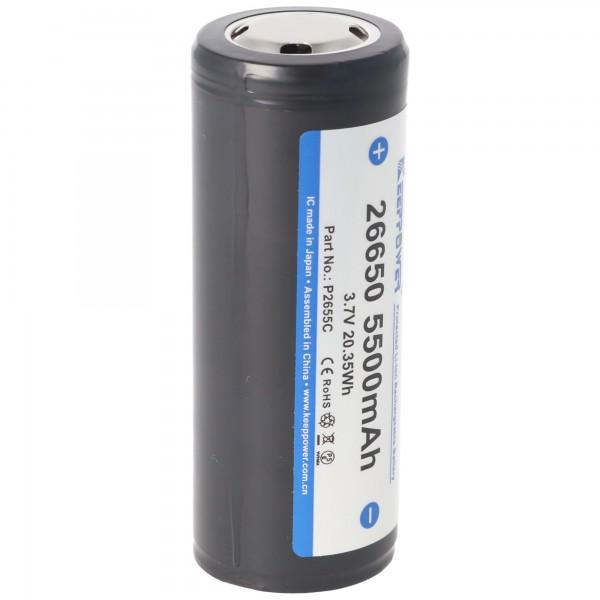 Batterie Keeppower 26650 - 5500mAh, 3,6V - 3,7V Li-ion protégée contre les PCB