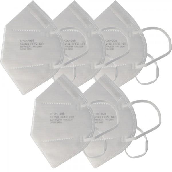 5 pièces Masque FFP2 Premium sans latex 7 couches sans valve, emballage hebdomadaire, certifié selon DIN EN149: 2001 + A1: 2009, demi-masque filtrant les particules, masque de protection FFP2