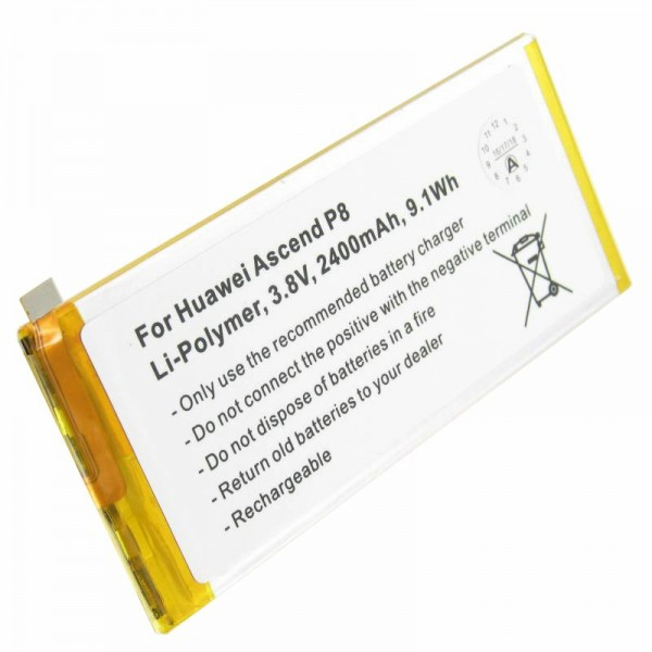 Batterie adaptée pour Huawei Ascend P8, HB3447A9EBA 3.8 Volt 2400mAh