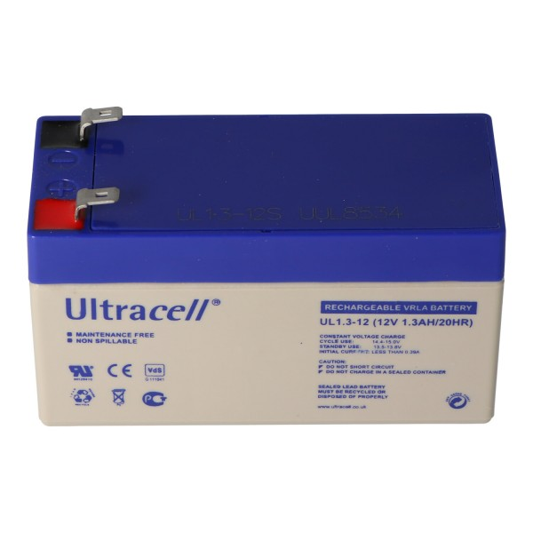 Batterie au plomb UL1.3-12 Ultracell 12 Volts, 1,3 Ah avec 2 contacts Faston 4.8mm