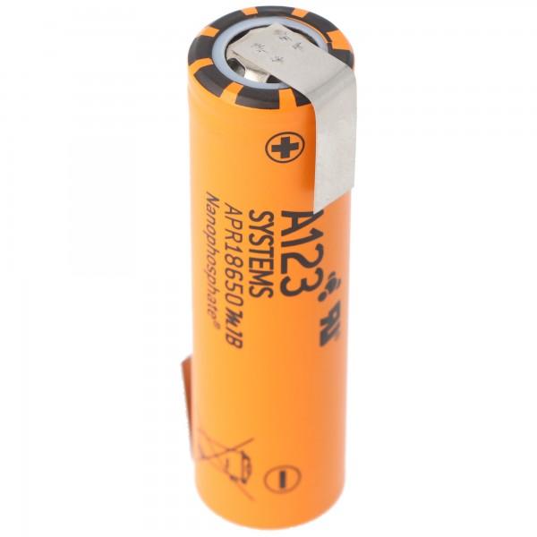 A123 APR18650M-A1 1100mAh 3.2V - Batterie LiFePo4 de 3,3 V + étiquette de soudure Z