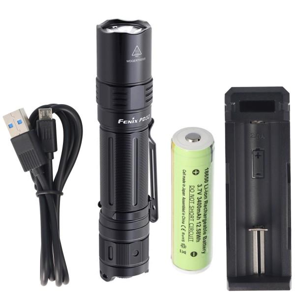 Lampe torche LED Fenix PD32 avec 1200 lumens, portée de 395 mètres avec batterie 3400mAh et chargeur