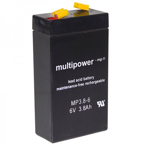 Batterie rechargeable multipoint MP3.8-6 WP3.2-6 plomb 3.8Ah avec contact faston 4.8mm