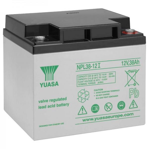 Batterie au plomb Yuasa NPL38-12I 12 volts, 38 Ah avec connexion M5