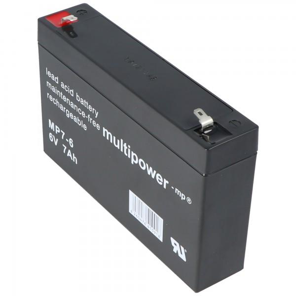 Batterie au plomb Multipower MP7-6 6 volts, 7000mAh avec Faston 4.8mm