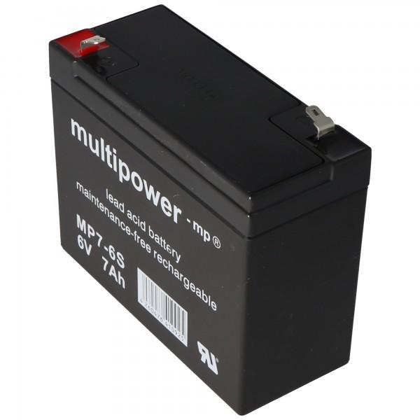 Multipower MP7-6S, WP7-6S Fil de batterie PB 6Volt 7Ah