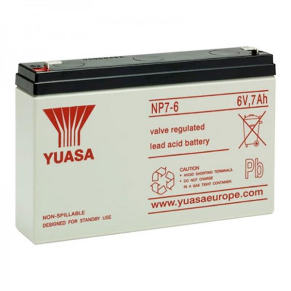 Batterie Yuasa NP7-6 PB 6 Volts 7Ah Faston 4.8mm