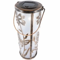 Lampe de table LED solaire décorative en métal avec 5 LED blanc chaud, batterie remplaçable incluse