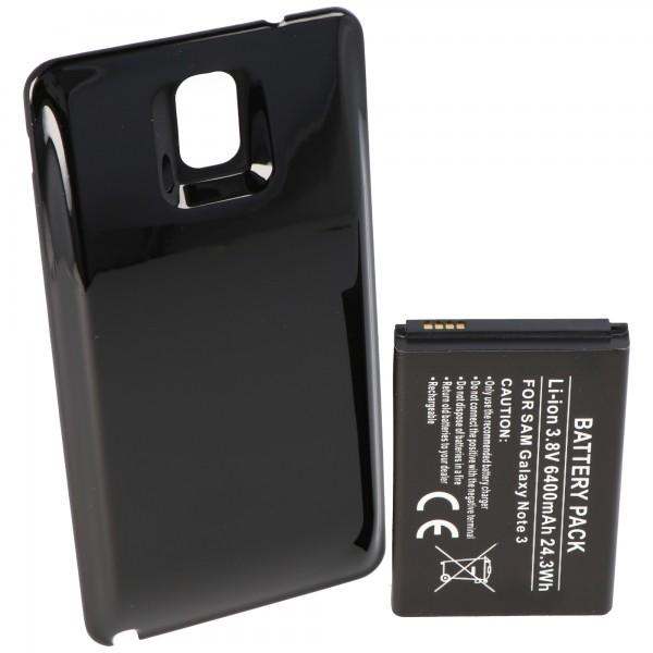 Batterie de remplacement 6400mAh pour Samsung Galaxy Note 3, Galaxy Note III, B800BE, B800BU avec étui noir